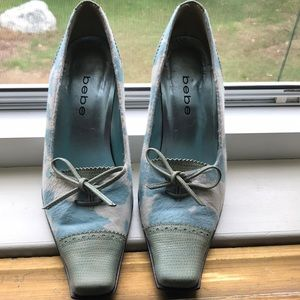 Bebe Baby Blue & White Mixed Genuine Leather Pumps